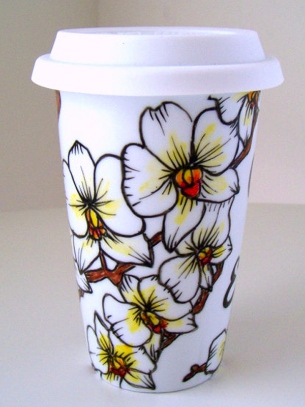 Ceramic cup with Phalaenopsis designs by sewZinski via Etsy